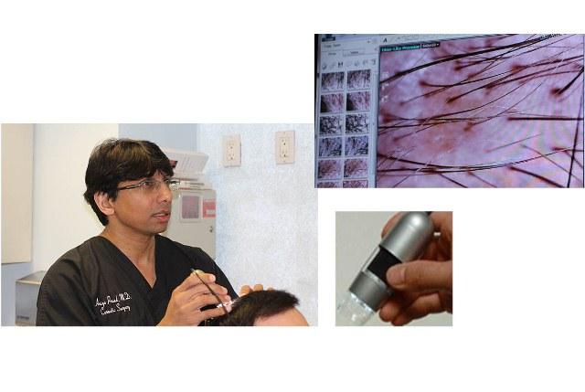 Dr Prasad with hair microscope