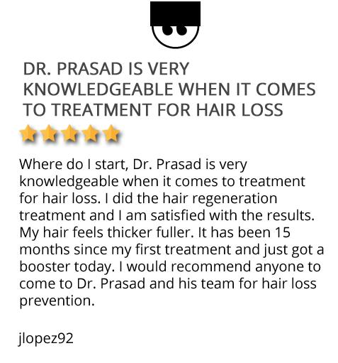 Patient testimonial on Dr. Prasad's hair regeneration treatment