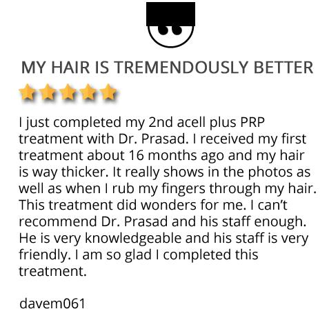 patient testimonial on TrichoStem hair loss solution in Virginia